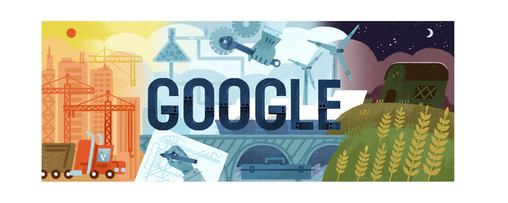 1 de mayo de 2017 - Doodle de Google para el Día del Trabajo