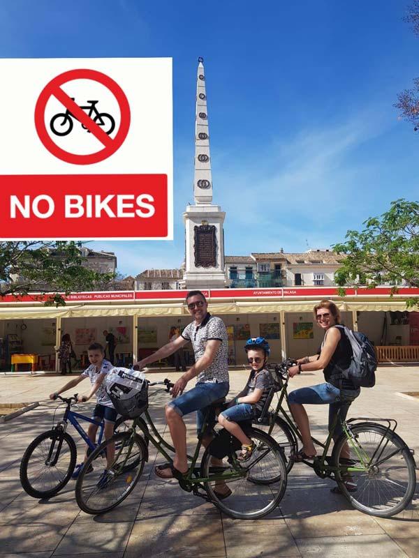 Prohibido Circular en bicicleta por el Centro Histórico de Málaga